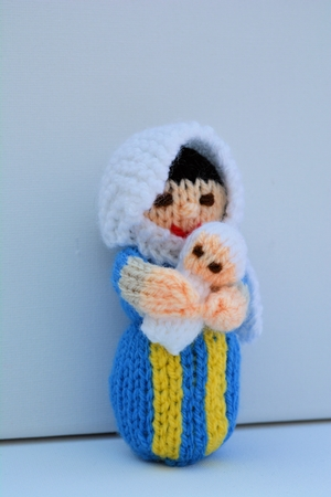 Christmas Doll Knitting Pattern - Knitted Nativity Mary Doll & Baby Jesus...
