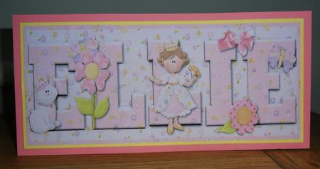 Card Gallery - Pretty princess ELLIE large DL name card with decoupage
