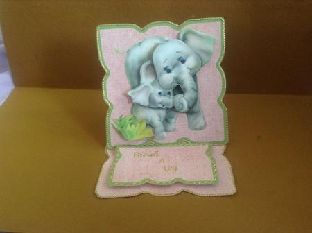 Card Gallery - Mother & Baby Elephant Shaped Easel Card
