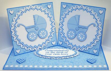 Baby Boy Twin Boys Double Twist Easel Card Kit in Card Gallery: www.craftsuprint.com/handmade-cards/new-baby/new-baby-twins