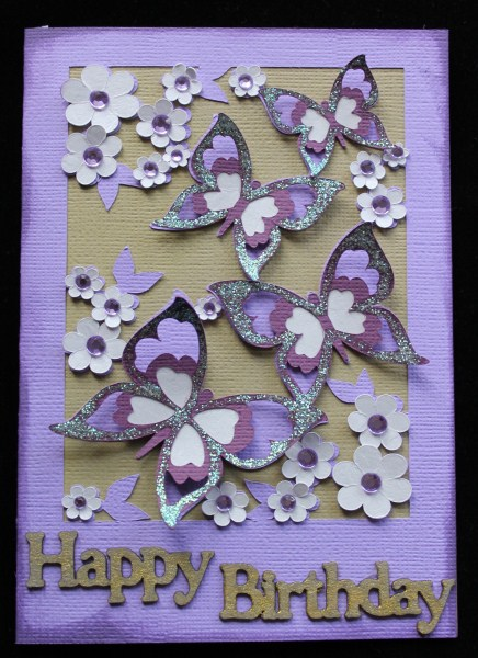 3D Butterfly Cascade Card - SVG / Studio / GSD in Card Gallery