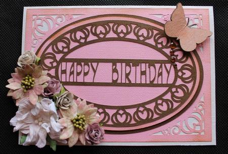 Happy Birthday Flourish Oval Card - SVG / GSD / Studio in Card Gallery