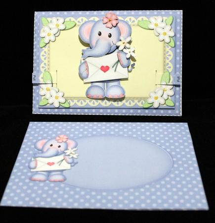 3D Lola Elephant's Letter Animated Moveable Decoupage Card in Card Gallery