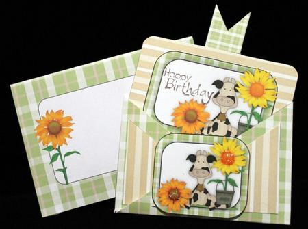 Sunflowers and Cows Criss Cross Pocket Card Kit in Card Gallery