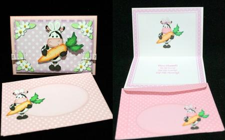 3D Milly Moo Cow's Bunny Ears Animated Moveable Decoupage in Card Gallery