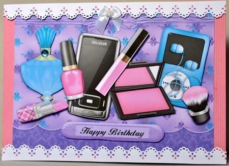 teen girl essentials  decoupage card  photo by kristina norbat, Birthday card