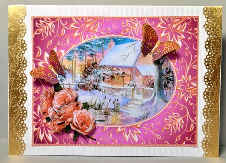 Card Gallery - Winter cottage with roses and butterflies decoupage