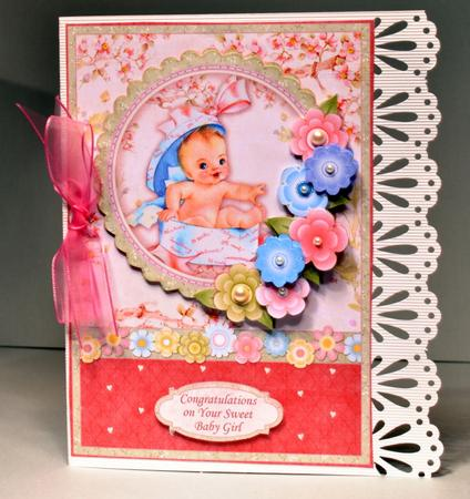 Card Gallery - NEW BABY GIRL Vintage Baby Girl Card Topper & Decoupage