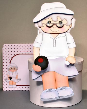 Card Gallery - 3D On the Shelf Card Kit - Lawn Bowls Old Woman Violet