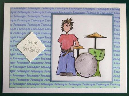 Blue Teenager Landscape Backing Sheet in Card Gallery