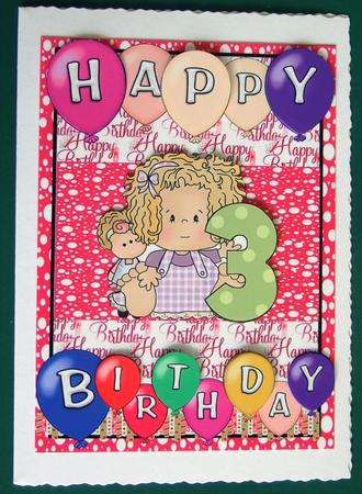 Age 3 Birthday Girl Card Front in Card Gallery
