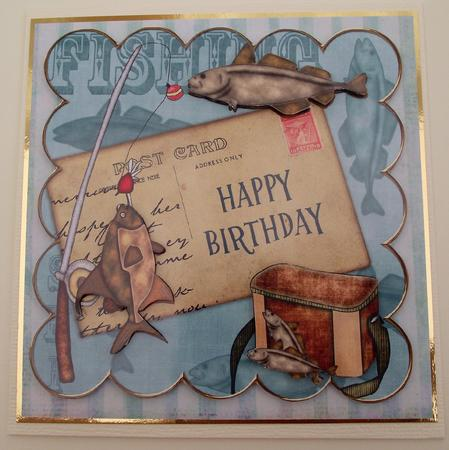 Teal fishing happy birthday 8in decoupage step by step for Fishing birthday cards
