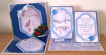 Card Gallery - VINTAGE CHRISTMAS SCENES Toppers & Insert Plaques Blue 4