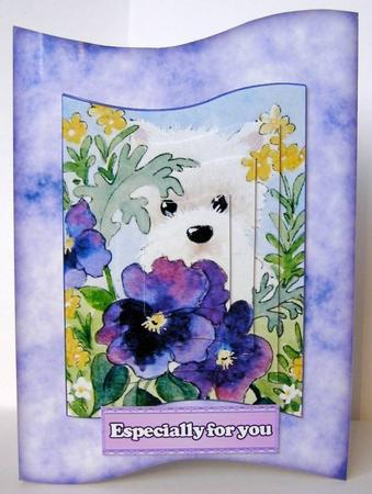 Card Gallery - Westie wit Pansies Wave Card