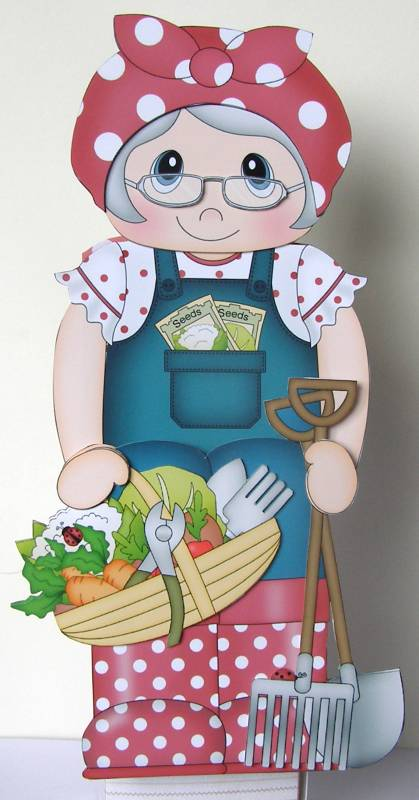 Card Gallery - 3D On the Shelf Card Kit - Veggie Patch Old Woman Val