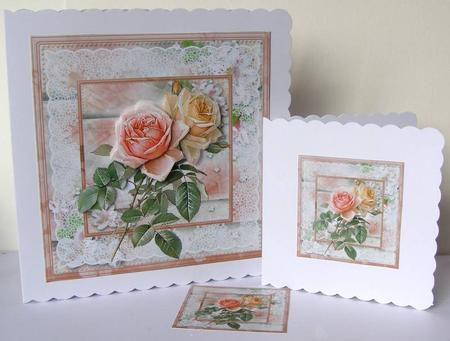 Card Gallery - Vintage rose card mini kit and decoupage