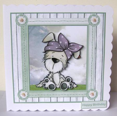 Card Gallery - Polka dot Bella 7x7 card with decoupage