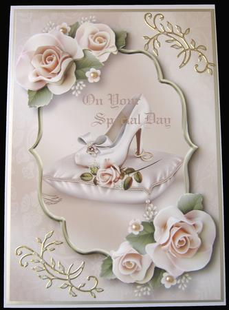 Wedding Shoe & Blush Icing Roses in Card Gallery