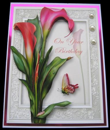 Gorgeous Hot Calla Lilies 8x8 Quick Topper in Card Gallery