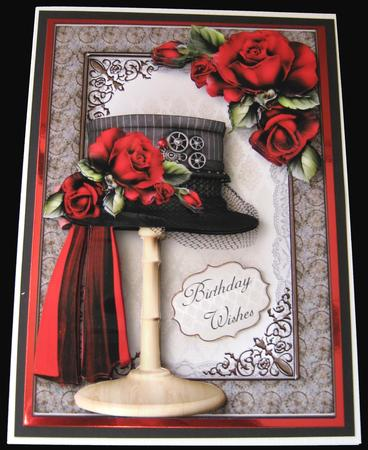 Steampunk Top Hat with Deep Red Roses Mini Kit in Card Gallery