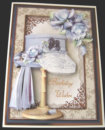 Steampunk Top Hat with Lace & Blue Roses Mini Kit in Card Gallery