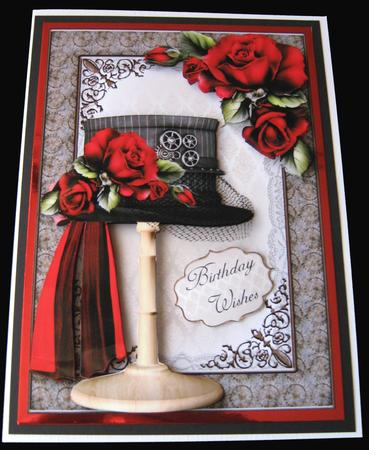 Steampunk Top Hat with Deep Red Roses in Card Gallery