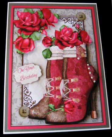 Steampunk Boots & Hot Pink Roses Mini Kit in Card Gallery
