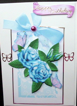 Card Gallery - BLUE ROSES AND LILAC BUTTERFLIES ON A FLORAL TAG
