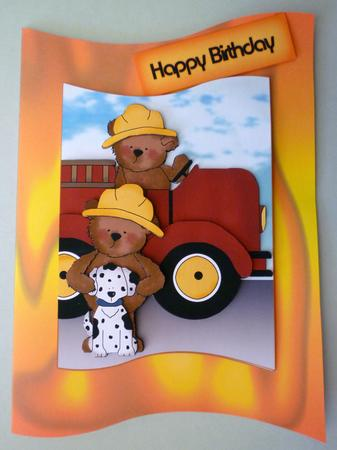 Card Gallery - Firemen Teddy Bears Wave Card Kit