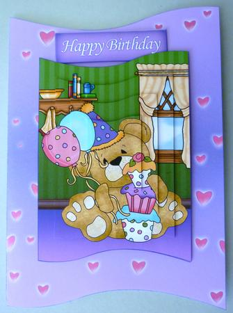 Card Gallery - Birthday Teddy Bear Wave Card