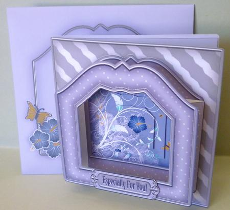 Card Gallery - Blue Hibiscus Picture Pop Out 3D Small Square Card Kit