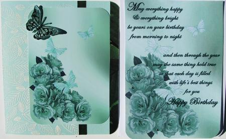 Card Gallery - Roses and butterflies green backing paper