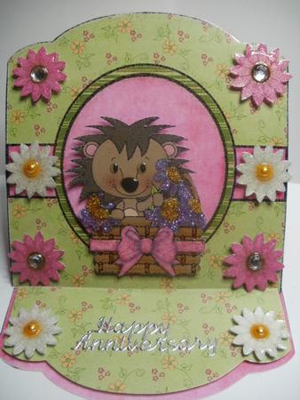 Card Gallery - Cute hedgehog easel card 1