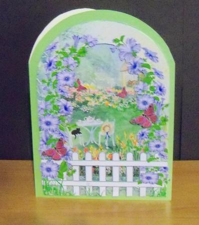 Card Gallery - Cottage garden with picket fence and butterflies decoupage