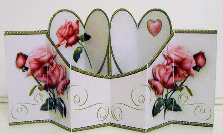 Card Gallery - Hearts & Pink Roses Double Diamond 3D Card Kit