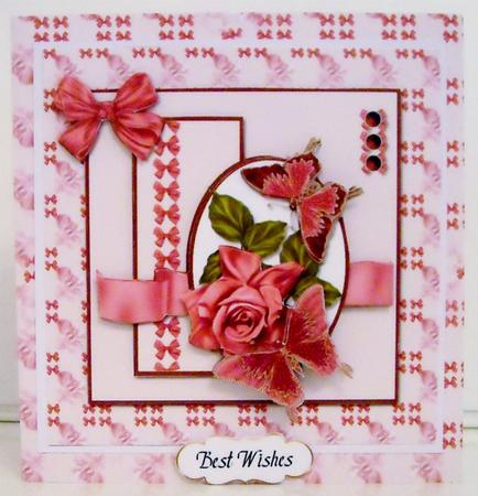 Card Gallery - Square Oval Sketch Card - Pink Rose and Butterflies