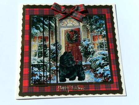 Card Gallery - Scottie Dog watching for Santa