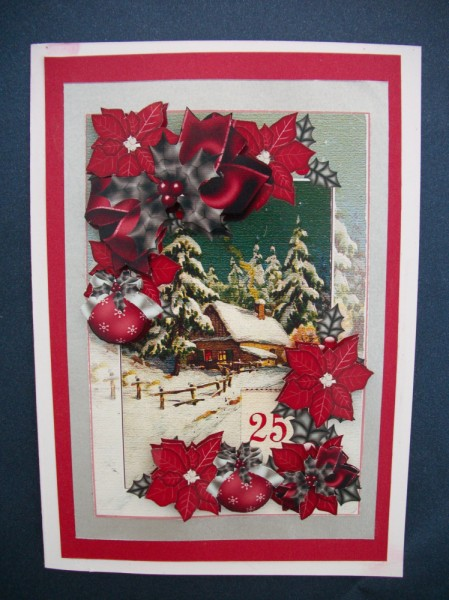 Card Gallery - December 25th red poinsettia holly and christmas bows