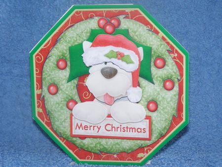 Card Gallery - CHRISTMAS WESTIE DOG Wreath Peeper with Decoupage Mini Kit