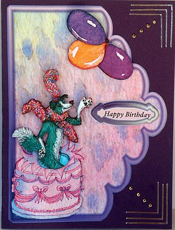 Card Gallery - Dog jumping out of birthday cake scallop edge card front