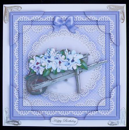Card Gallery - Flower filled wheelbarrow 3D Decoupage sheet