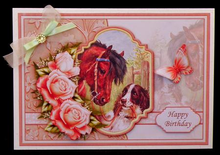 SPECIAL FRIENDS VINTAGE HORSE & DOG Decoupage