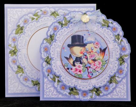 Latest Upload - Love Ducks Blue 1st Anniversary 3D Picture Doily C & E Kit