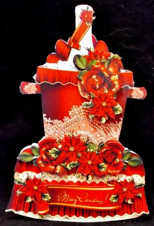 Beautiful Christmas Champagne Bottle with Poinsettias and Ro in Card Gallery
