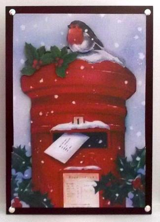 Letter box with snow & Holly with little robin in Card Gallery