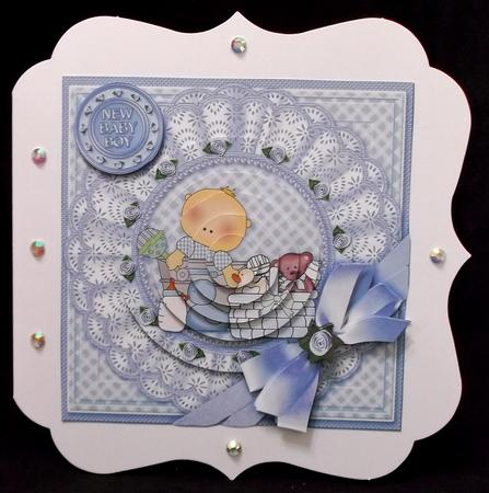 Baby Boy with Broiderie Anglaise Doily 6in x 6in Pyramage in Card Gallery