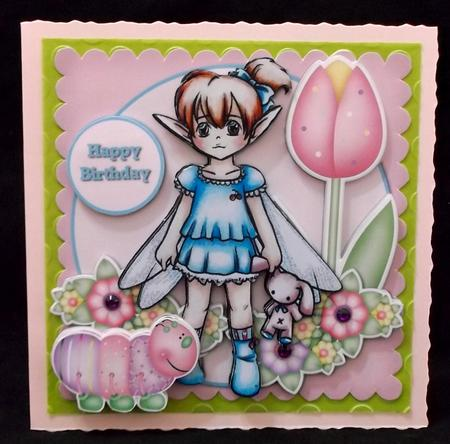 Fairy With Bunny and Caterpillar in Card Gallery