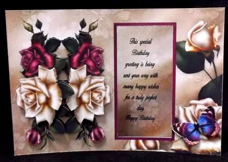 Antique Roses Birthday Aperture Window Card Mini Kit in Card Gallery