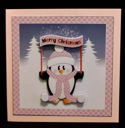Merry Christmas Penguin Card Topper in Card Gallery