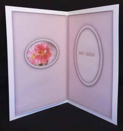 Pink Flowers Oval Frame Matching Insert in Card Gallery